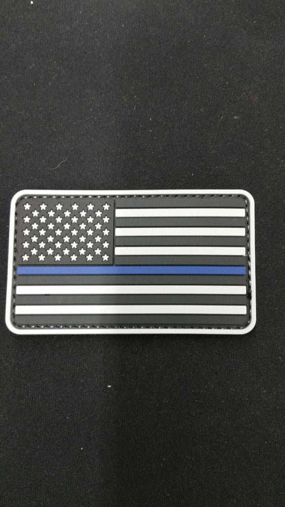 BLACK & GREY THIN BLUE LINE PVC FLAG