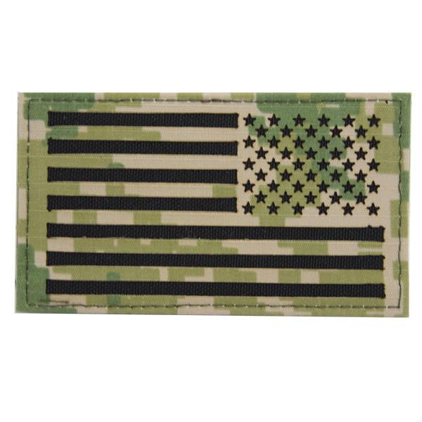 FLAG PATCH: U.S. FLAG REVERSED FIELD - WOODLAND DIGITAL