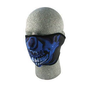 BLUE CHROME SKULL NEOPRENE THERMAL HALF MASK