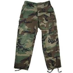 WOODLAND CAMO BDU PANTS USED