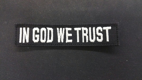 BLACK IN GOD WE TRUST TAPE WITH SILVER WRITING & VELCRO