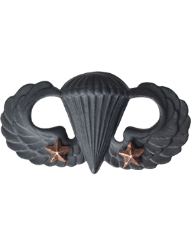 BLACK PARACHUTIST WITH TWO STARS PIN