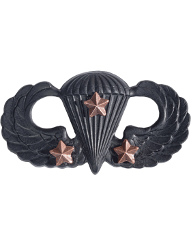 BLACK PARACHUTIST WITH THREE COMBAT STARS PIN