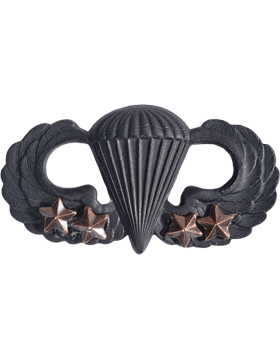 BLACK PARACHUTIST WITH FOUR COMBAT STARS PIN