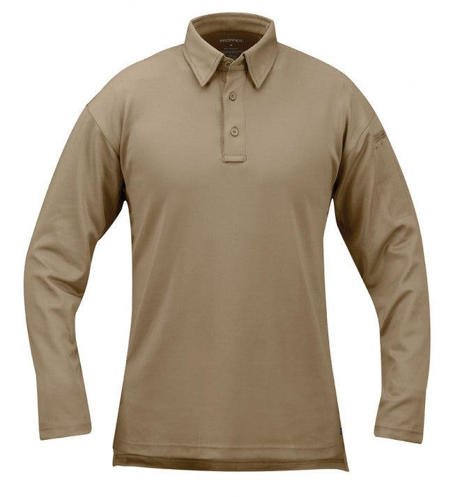Silver Tan Propper I.C.E.™ Men's Performance Polo – Long Sleeve
