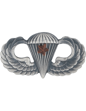 SILVER OXIDE PARACHUTIST WITH ONE COMBAT STAR PIN