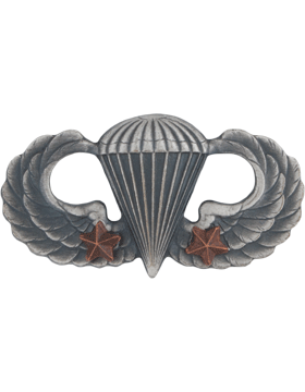 SILVER OXIDE PARACHUTIST WITH TWO COMBAT STARS PIN