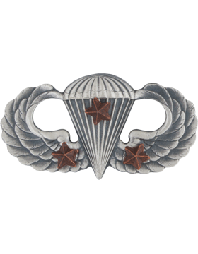 SILVER OXIDE PARACHUTIST WITH THREE COMBAT STARS PIN