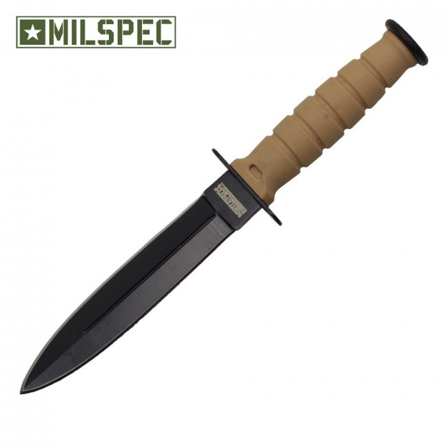 "6"" Double Edge Neck Knife w/Sheath (Tan)"
