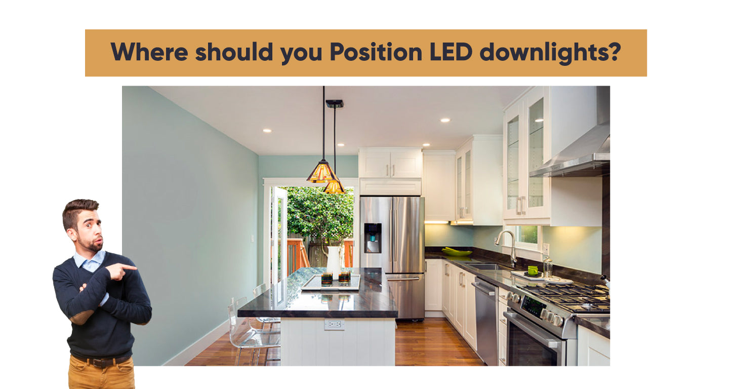 Where should you Position LED downlights in the kitchen?