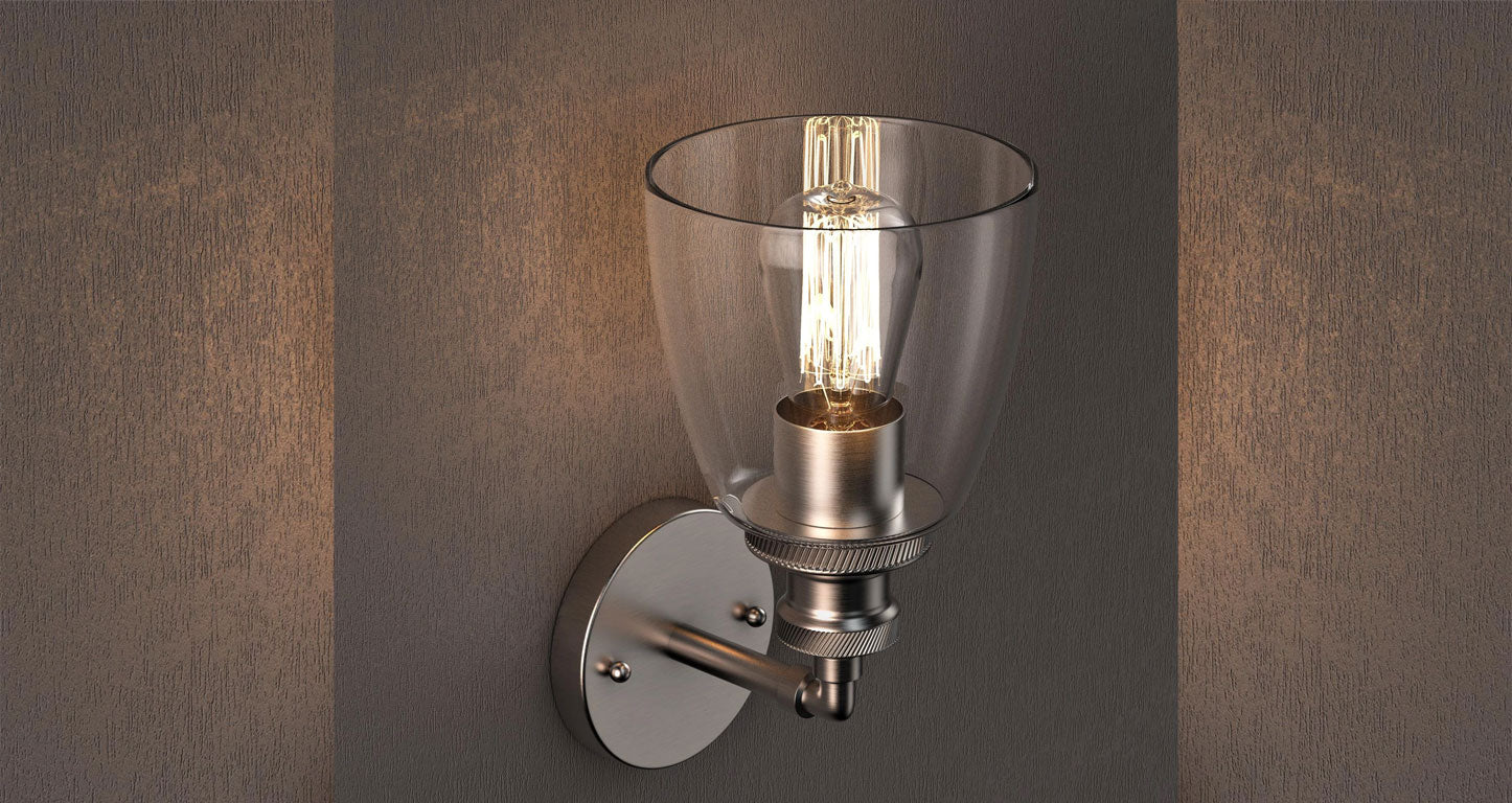 Bell shaped single light wall sconce