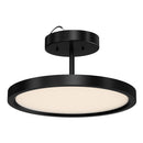 Load image into Gallery viewer, 28W Round Shape LED Semi Flush Mount Ceiling Lights, Matte Black Finish with White Acrylic Shade, 1950LM, Dimmable
