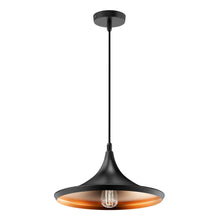 Load image into Gallery viewer, Matte Black Pendant Light Fixture, Trumpet-Shaped, E26 Base, Steel Body, UL Listed