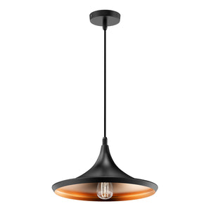 Matte Black Pendant Light Fixture, Trumpet-Shaped, E26 Base, Steel Body, UL Listed