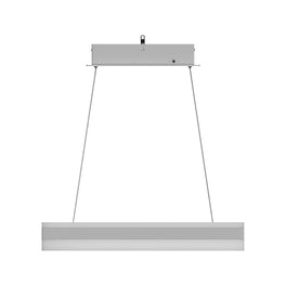 Modern Rectangular LED Chandelier, 87W, 3000K-6500K (CCT-Changeable), 4350LM, Dimmable, Sand Silver Body Finish, 3 Year Warranty