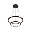 Load image into Gallery viewer, 2-Ring LED Chandelier, 61W, 3000K-6500K, 2241LM, Dimmable, Matte black Body Finish, Diameter 34.9''×0.4''×71''