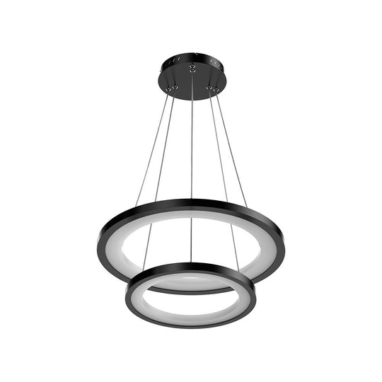 2-Ring LED Chandelier, 61W, 3000K-6500K, 2241LM, Dimmable, Matte black Body Finish, Diameter 34.9''×0.4''×71''