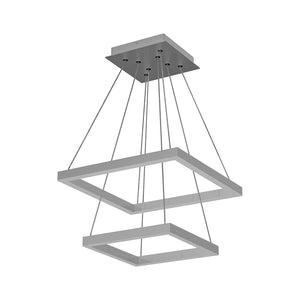 Modern Two-Tier Square Chandelier Lighting, 54W, 3000K, 3016LM, Dimension : 19.7''L×19.7''W×55''H
