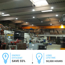 Load image into Gallery viewer, 100W UFO LED High Bay Light, 5700K Daylight White, 11,852lm, IP65, UL, DLC Listed, Commercial Bay Lighting for Garage Factory Workshop Warehouse