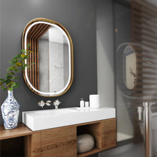 24 X 36 Inch LED Lighted Bathroom Mirror with Gold Frame, Touch Sensor Switch and CCT Remembrance, Evo Style