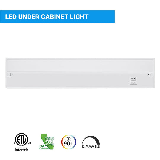 LED Under Cabinet Light Dimmable CRI90, WHITE, Hardwired/Direct Plug-in, Color Changeable (3000K/4000K/5000K)