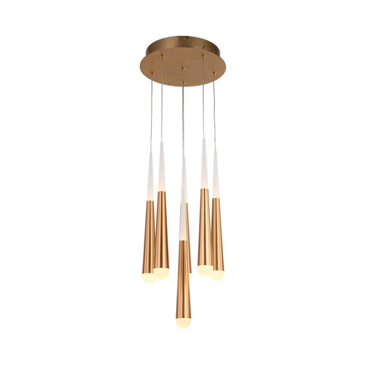 6-Light Chandelier, Brushed Gold Finish, 42W, 3000K, 2100LM, Dimmable, Chandelier Dining Light Living Room Lighting Kitchen Island