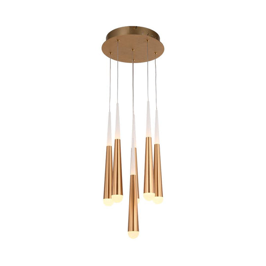 6-Light Chandelier, Smoke grey Body Finish, 42W, 3000K, 2100LM, Dimmable, Chandelier Dining Light Living Room Lighting Kitchen Island