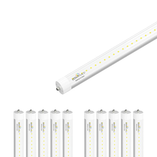 8ft LED Tube Light 48W 6720 Lumens Single Pin 5000k Clear