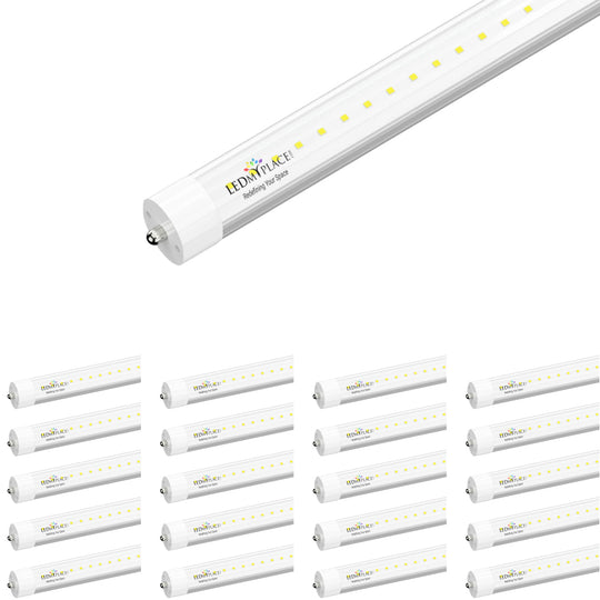 T8 8ft LED Tube Light 48W 5800 Lumens Single Pin 6500K Clear, 8ft LED Bulbs