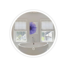 LED Bathroom Round Mirror 22 Inch Diameter - Defogger On/Off Touch Switch and CCT Changeable With Remembrance