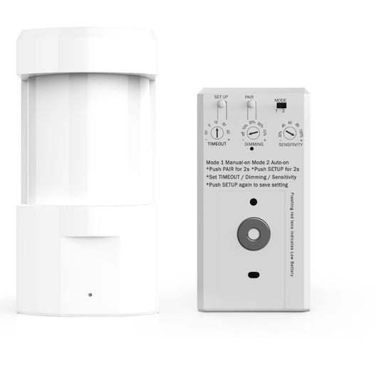 Wireless wall mount PIR Occupancy/ Vacancy Sensor with switch Manually Turn on/off and Dim Command