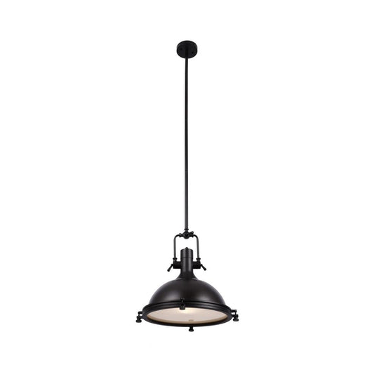 "Industrial Pendant Light Fixture, Bronze Finish, Dome Shape, Includes Extension Rods 1x6""+3x12"", E26 Base"