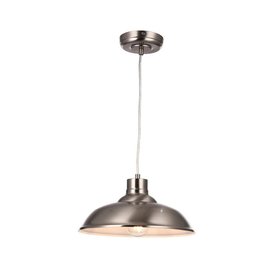 1-Light Industrial Style Pendant Light Fixture, Trumpet Shape, E26 Base, Brushed Nickel Finish, UL Listed