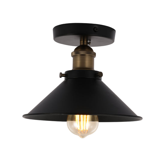 Industrial Style Semi-Flush Mount Lights, E26 Base, Matte Black with Antique Brass Finish, UL Listed, 3 Years Warranty