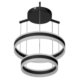 2-Ring, Unique LED Circular Chandelier, 112W, 3000K-6500K, 5600LM, Dimmable, Sand Black Body Finish