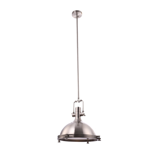 Industrial Pendant Light Fixture, Satin Nickel Finish, Dome Shape, Includes Extension Rods 1x6