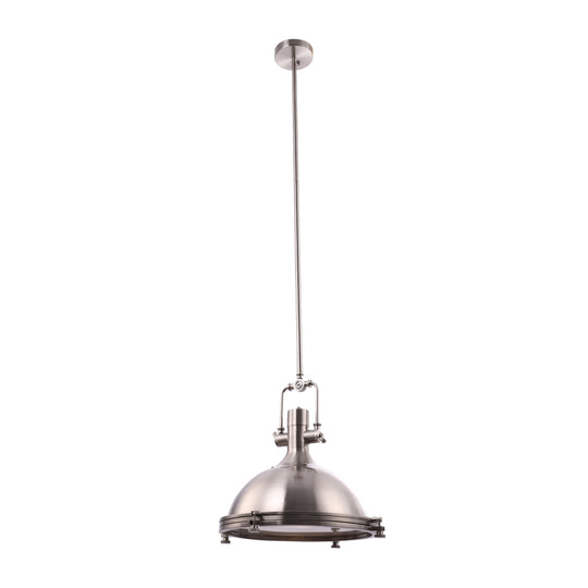 "Industrial Pendant Light Fixture, Satin Nickel Finish, Dome Shape, Includes Extension Rods 1x6""+3x12"", E26 Base"
