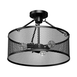 Drum Shape Semi-Flush Mount Ceiling Light, Steel Cage Matte Black Finish, E26 Base, UL Listed, 3 Years Warranty