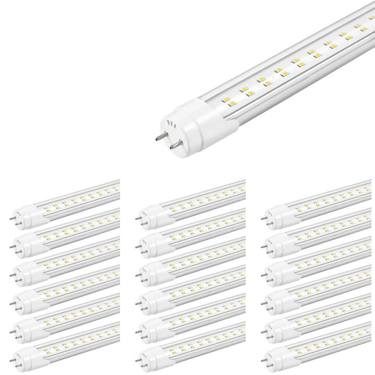 T8 4ft 22W LED Tube, 2-Row LED Tube, 6500K Clear Dual Ended Power