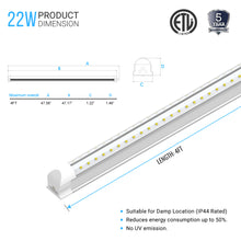 Load image into Gallery viewer, T8 4ft led tube 22w V Shape Integrated 2 Row 5000k clear,  4' Linkable LED Shop Light