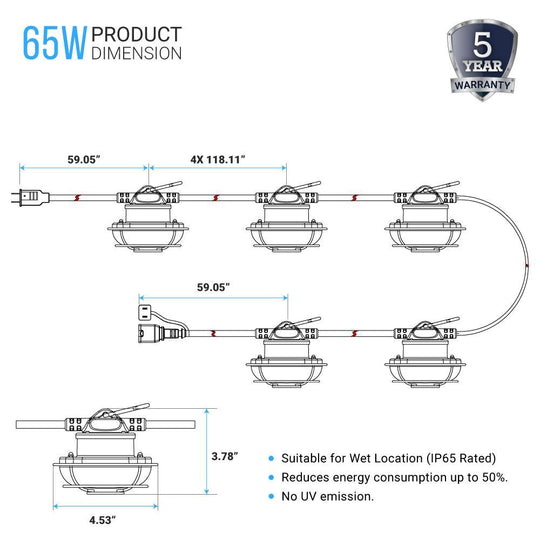 65W String Work Light With Cage-5000K, 50ft, 8000 Lumens , IP65 rated , 5 Lights Per Bunch