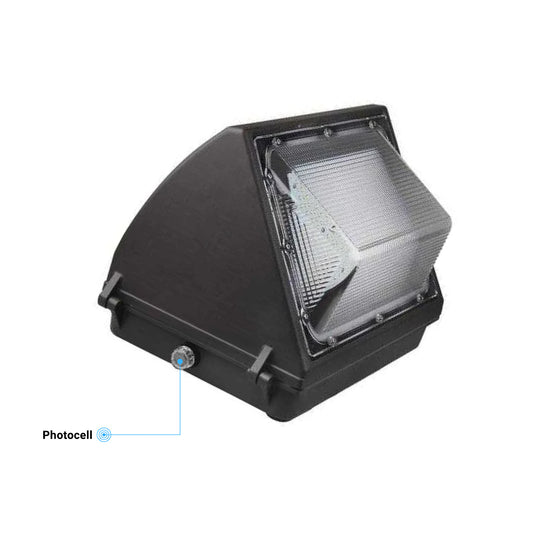 80W LED Wall Pack Light With Photocell Sensor - 10,173 Lumens, 5700K Bronze Finish - Forward Throw