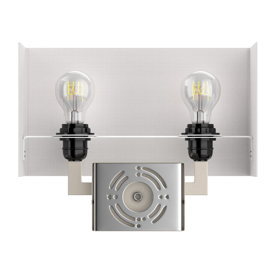 "2-Light, Brushed Nickel Wall sconce with switch, White shade, Dimension: W14""xD4""xH10.5"", With 2 usb, 2 switch and 1 outlet"