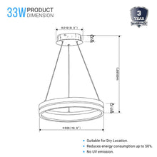 Load image into Gallery viewer, Round Chandelier, Matte Black + Wood Finish, 33W, 3000K (Warm White), 961 Lumens, Dimmable Pendant