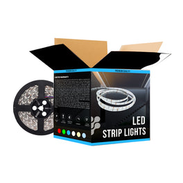 Outdoor Color Changing LED Strip Lights (RGB) - 12V Flexible Tape Lights w/ DC Connector - 126 Lumens/ft.