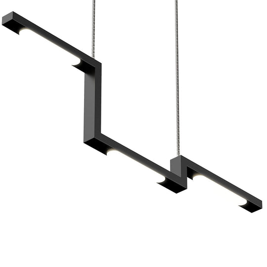 1-Lights, Modern Linear Chandelier Light, 16W, 3000K, 800LM, Suspension Fixture, Matte black Body Finish, Dimmable, 31.5''×1.3''×71'' (Dimension)