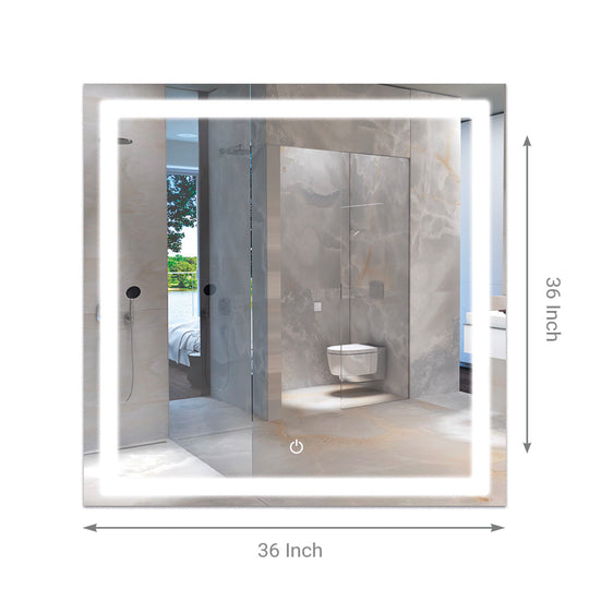 "LED Bathroom Lighted Mirror 36"" X 36"" Lighted Vanity Mirror Includes Defogger Touch Switch Controls, Inner Window Style"