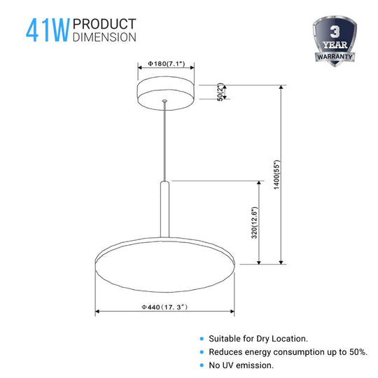 "Round Plate Pendant Light, 41W, 3000K, 2225LM, Diameter 17.3"" x 55""H, Dimmable, Pendant Mounting"
