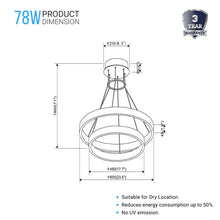 Load image into Gallery viewer, 2-Ring, Modern LED Chandelier, 78W, 120V, 3000K, 3985LM, Dimmable