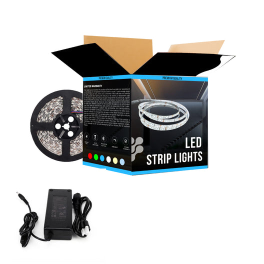 Waterproof Single-Color LED Strip Light SMD 5050, 12V, IP65, 378 Lumens/ft, Indoor/Outdoor Decoration (White) - KIT